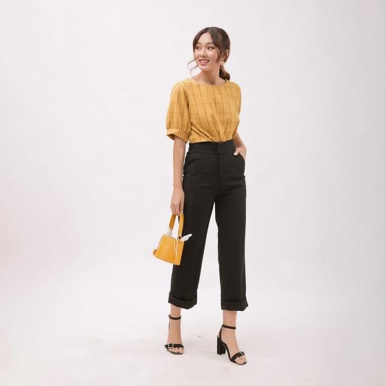 Áo kiểu thời trang Eden caro phom rộng tay ngắn phối nút - ASM063