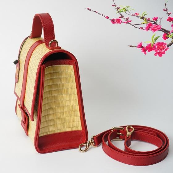 Túi cói thời trang màu đỏ NORD111