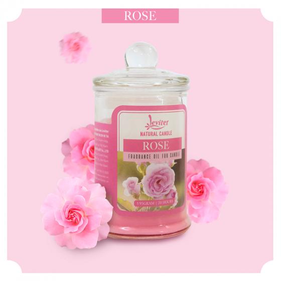 Nến thơm ly thủy tinh cao cấp Leviter tinh dầu hoa hồng 95gr