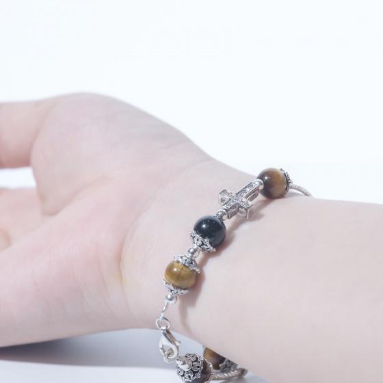 Lắc tay may mắn đá mắt hổ phối charm Thánh Giá và DreamCatcher bạc thái 925 BTIGPS2 VietGemstones