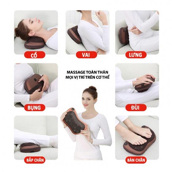Combo 2 gối massage hồng ngoại 8 bi Pillow 8028 thế hệ mới (tặng kèm sạc) [QC-Vneshop]