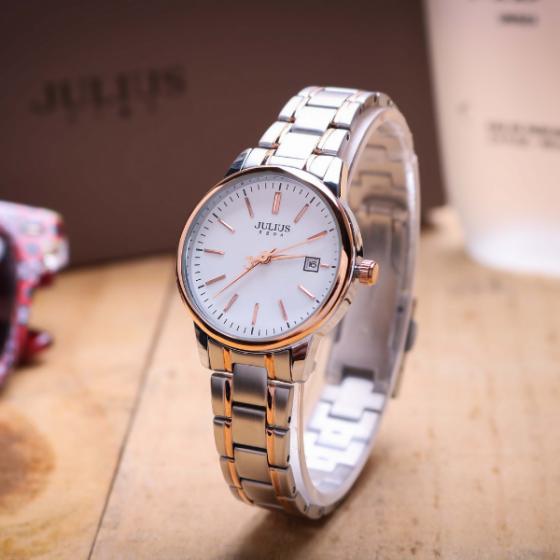 Đồng hồ nữ dây kim loại chính hãng Julius Hàn Quốc JA-1205LC bạc mặt trắng