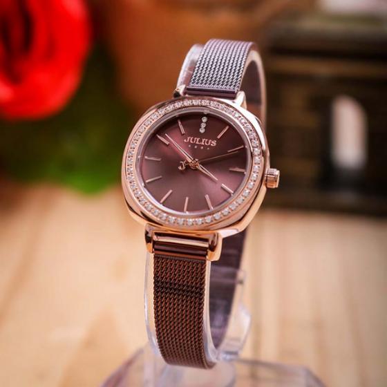Đồng hồ nữ JuliusJA-1213Cdây thép không gỉ Hàn Quốc chính hãng