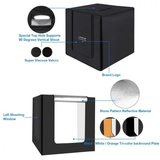 Hộp chụp sản phẩm studio kèm đèn LED 80W 8500LW 80cmx80cmx80cm Aturos Puluz PU5080EU (Kit gồm 3 màu nền)