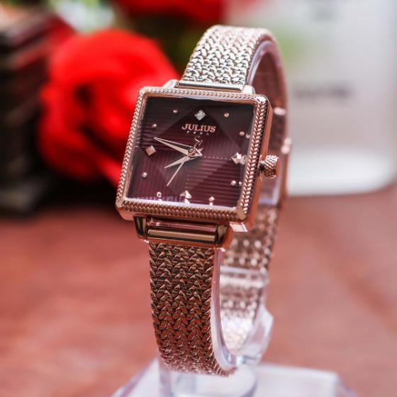 Đồng hồ nữ JuliusJA-1220Cdây thép không gỉ Hàn Quốc chính hãng