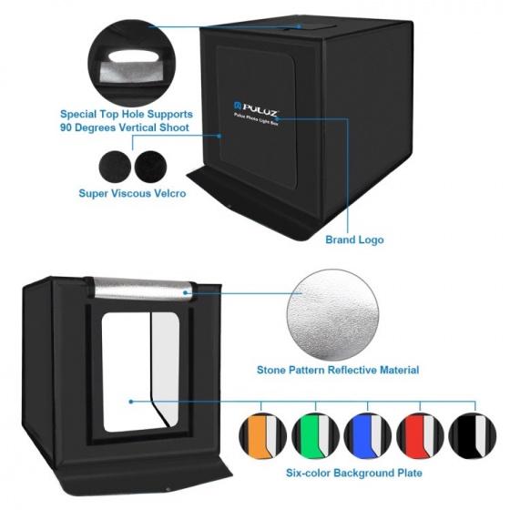 Hộp chụp ảnh sản phẩm studio Aturos Puluz PU5060AU kèm đèn LED 60W 60x60x60cm