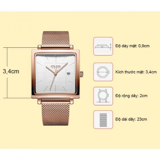 Đồng hồ nữ dây kim loại chính hãng Julius Hàn Quốc JA-1207B (đồng)