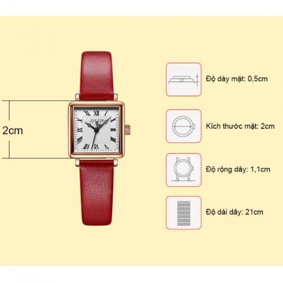 Đồng hồ nữ dây da chính hãng Julius Star Hàn Quốc JS-031B Đỏ
