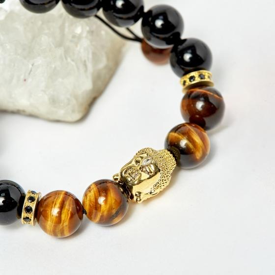 Vòng kết dây đá thạch anh mắt hổ vàng nâu phối obsidian và charm phật hạt 10mm - Ngọc Quý Gemstones
