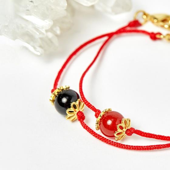 Combo lắc bạc mạ vàng và lắc dây đỏ - Ngọc Quý Gemstones