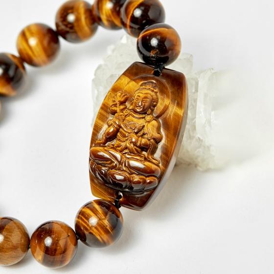 Vòng phật bản mệnh tuổi ngọ đại thế chí bồ tát thạch anh mắt hổ hạt 12mm mệnh thổ, kim - Ngọc Quý Gemstones