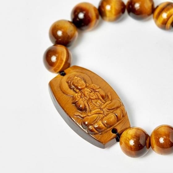 Vòng Phật bản mệnh tuổi thân mùi Như Lai đại nhật thạch anh mắt hổ hạt 12mm mệnh thổ, kim - Ngọc Quý Gemstones
