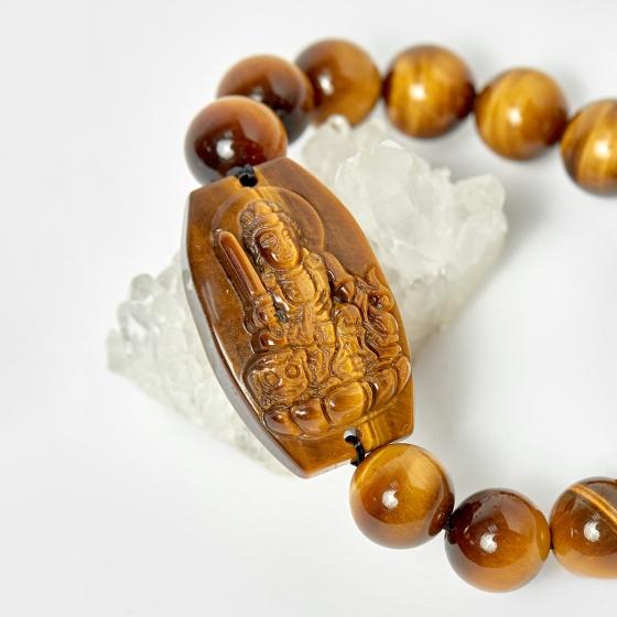 Vòng phật bản mệnh tuổi mão văn thù bồ tát thạch anh mắt hổ hạt 12mm mệnh thổ, kim - Ngọc Quý Gemstones