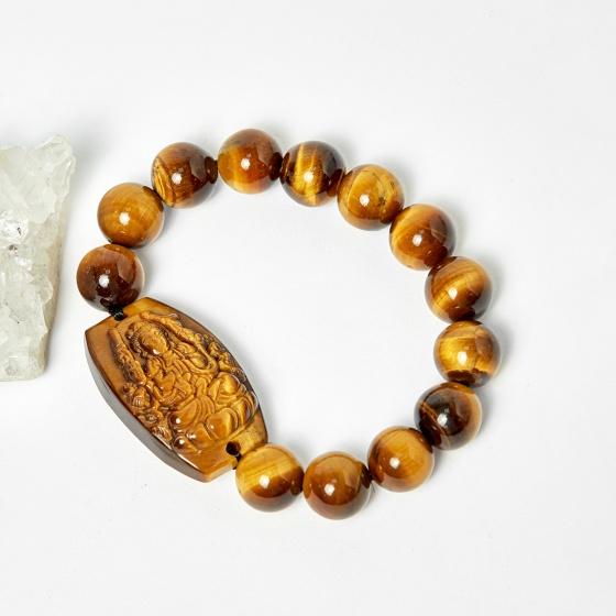 Vòng Phật bản mệnh tuổi tý thiên thủ thiên nhãn thạch anh mắt hổ  hạt 12mm mệnh thổ, kim - Ngọc Quý Gemstones