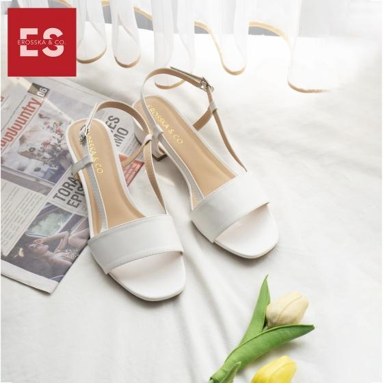Giày cao gót Erosska thời trang mũi vuông phối dây kiểu dáng thanh lịch cao 3cm EM031 (màu nude)