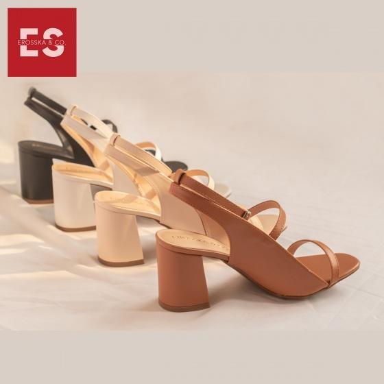 Giày nữ, giày cao gót Erosska phối dây thời trang thanh lịch cao 7cm - EB013 (kem)