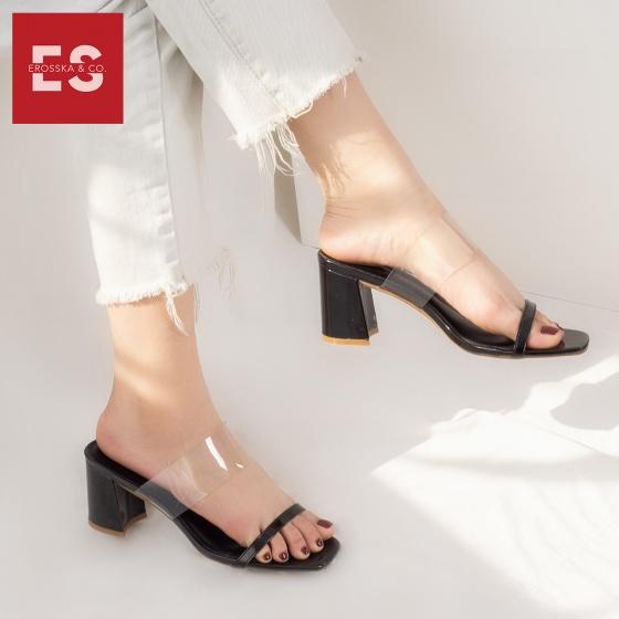 Dép cao gót Erosska thời trang mũi vuông quai mảnh phối mica trong cao 7cm EM032 (màu đen)