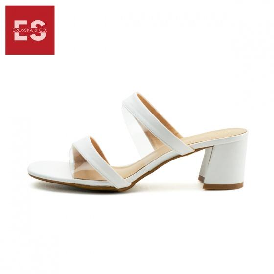 Dép cao gót Erosska thời trang mũi vuông kiểu dáng xỏ phối mica trong cao 5cm EM033 (màu đen)