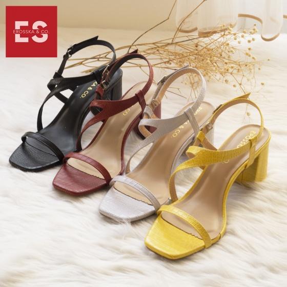 Giày sandal cao gót Erosska mũi vuông phối quai dây mảnh, hoạ tiết da rắn nổi bật cao 7cm EM034 (màu vàng)