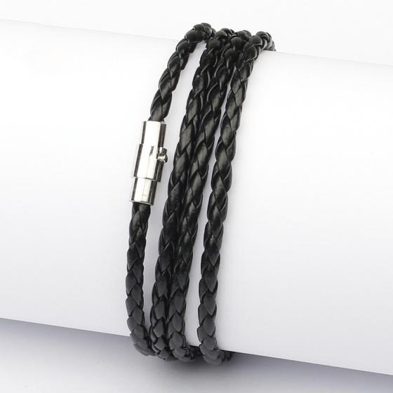 Vòng tay 4 vòng dây da công nghiệp khóa nam châm - Ngọc Quý Gemstones