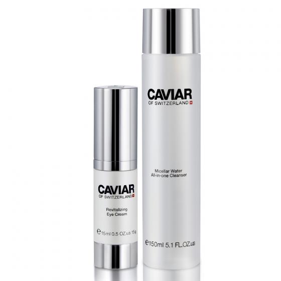 Bộ sản phẩm chống lão hóa Caviar of Switzerland cho vùng mắt và nước thần làm sạch da