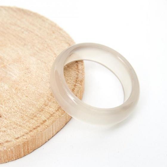 Set nhẫn nam nữ đá mã não trắng đk nữ 17mm, nam 19mm mệnh kim thủy - Ngọc Quý Gemstones
