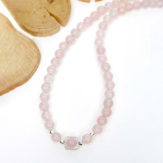 Vòng chuỗi hạt dây chuyền cổ đá thạch anh hồng 8mm, dài 50cm mệnh hỏa thổ - Ngọc Quý Gemstones