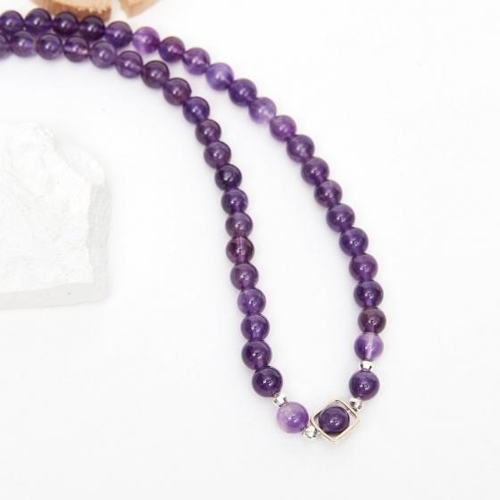 Vòng chuỗi hạt dây chuyền cổ đá thạch anh tím 8mm, dài 50cm mệnh hỏa thổ - Ngọc Quý Gemstones