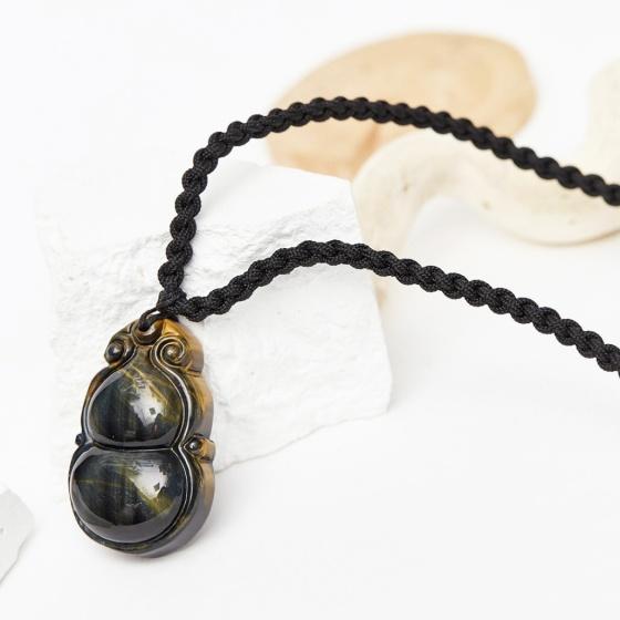 Mặt dây chuyền hình hồ lô đá thạch anh mắt hổ xanh đen 42x26mm mệnh thủy mộc - Ngọc Quý Gemstones