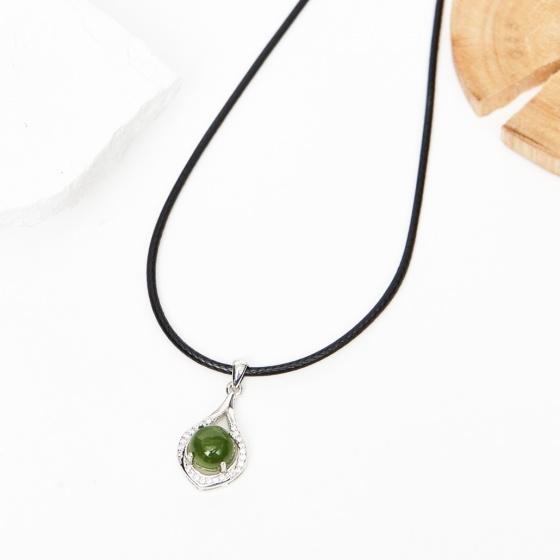 Mặt dây chuyền ngọc bích bọc bạc mệnh mộc hỏa - Ngọc Quý Gemstones