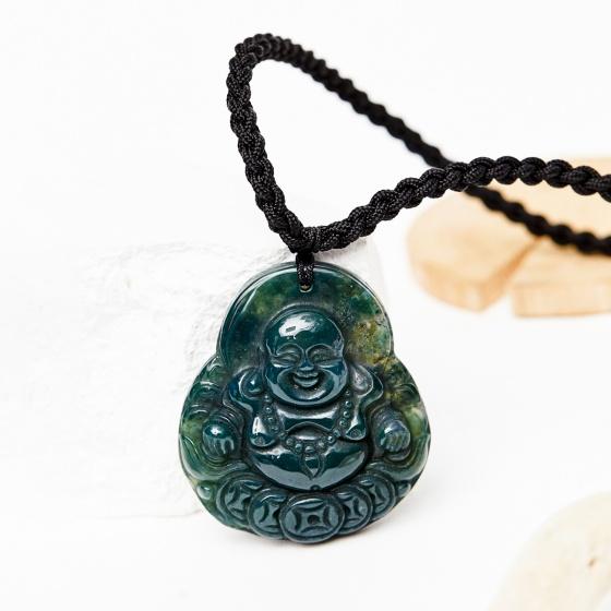 Mặt dây chuyền phật di lặc đá chalcedony 4x4.5cm mệnh mộc hỏa - Ngọc Quý Gemstones