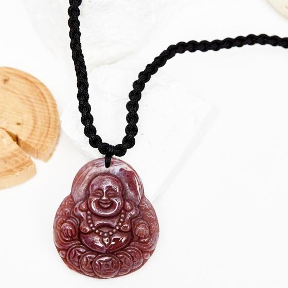 Mặt dây chuyền phật di lặc đá chalcedony huyết 4x4.5cm mệnh hỏa thổ - Ngọc Quý Gemstones