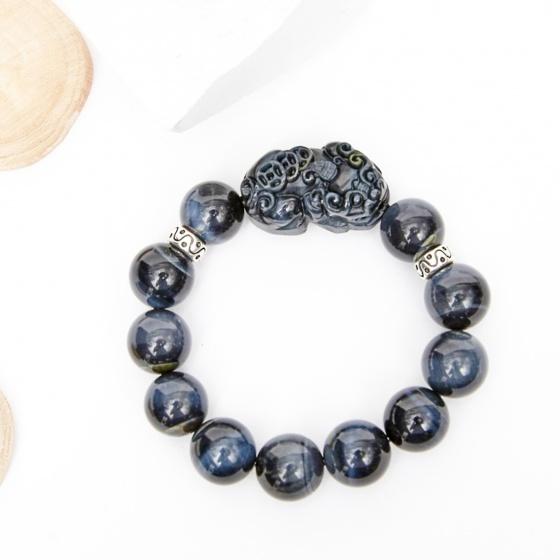 Vòng tay đá thạch anh mắt ưng phối tỳ hưu đá 16mm mệnh thủy, mộc - Ngọc Quý Gemstones