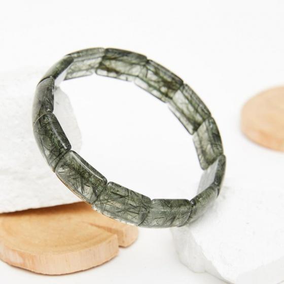 Vòng bản đá thạch anh tóc xanh bản 16x13mm mệnh hỏa, mộc - Ngọc Quý Gemstones