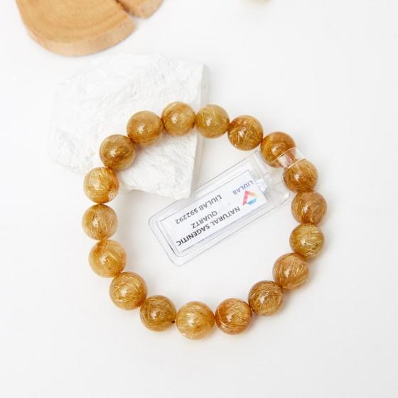 Vòng tay đá thạch anh tóc vàng brazil aaa 11.5mm mệnh kim thủy - Ngọc Quý Gemstones