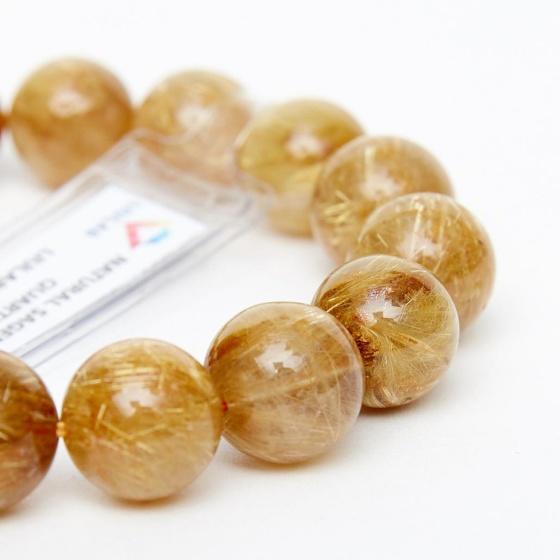 Vòng tay đá thạch anh tóc vàng brazil aaa 13mm mệnh kim thủy - Ngọc Quý Gemstones