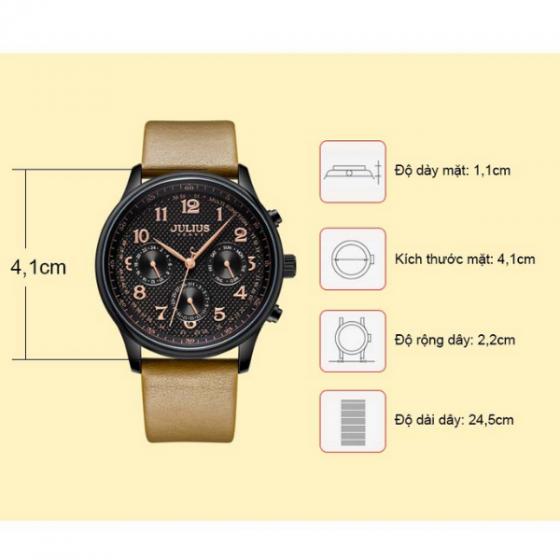 Đồng hồ nam 6 kim Hàn Quốc Julius jah-108c nâu đen