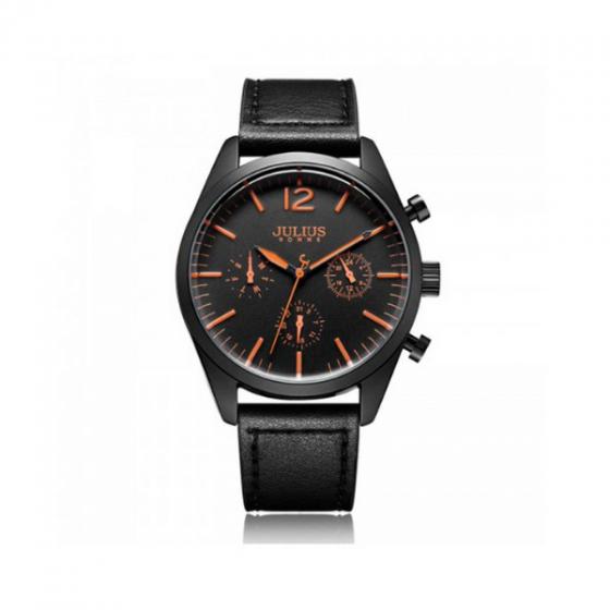 Đồng hồ nam dây da 6 kim hàn quốc jah-099e đen kim cam