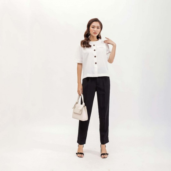 Áo kiểu công sở thời trang Eden phom suông tay ngắn - ASM072