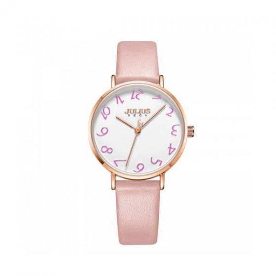 Đồng hồ nữ dây da ja-1170a hồng Hàn Quốc