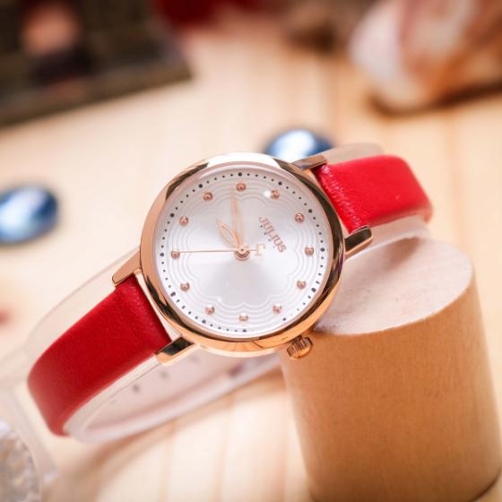 Đồng hồ nữ Hàn Quốc dây da JA-1191B đỏ