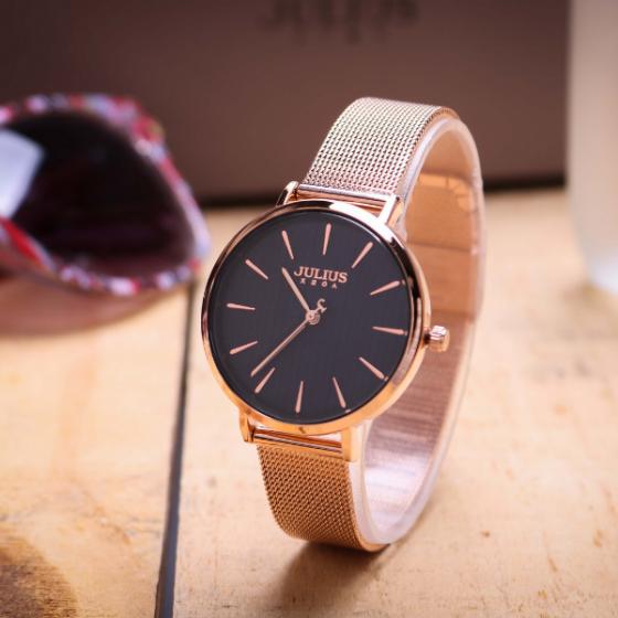 Đồng hồ nữ dây kim loại chính hãng Julius Hàn Quốc JA-1198D đồng mặt xanh