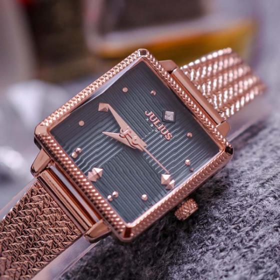 Đồng hồ nữ dây kim loại  Hàn Quốc JA-1220 đồng mặt xanh đen