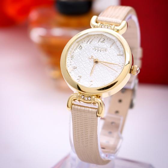 Đồng hồ nữ dây da Hàn Quốc JA-854B vàng nhũ