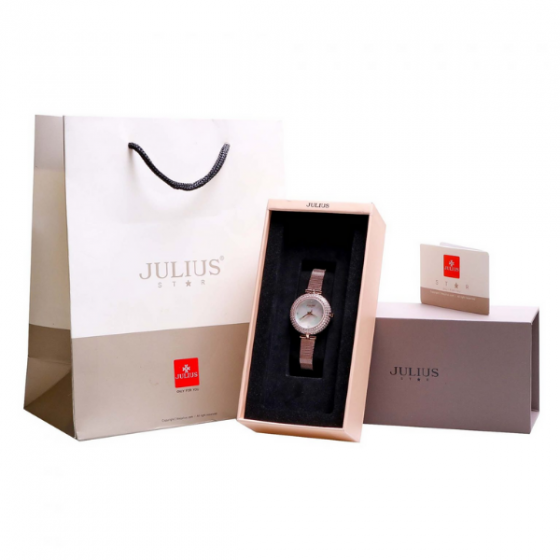 Đồng hồ nữ dây kim loại kính saphire Hàn Quốc JS-041B đồng