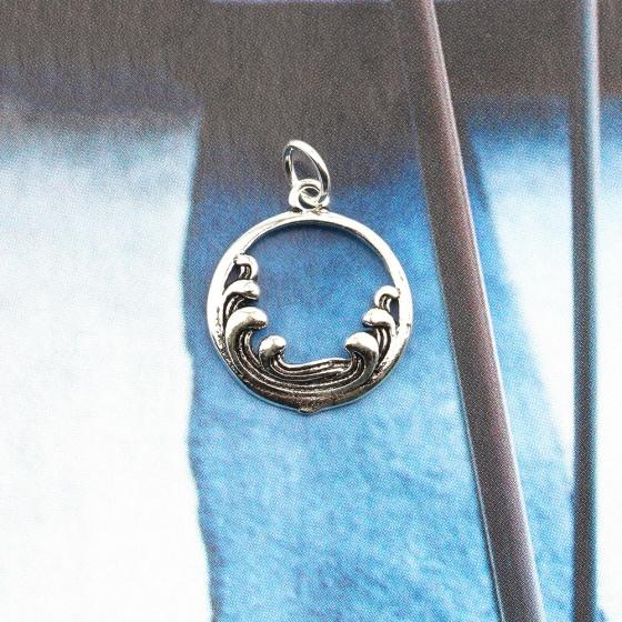Charm bạc treo hình sóng biển tròn - Ngọc Quý Gemstones
