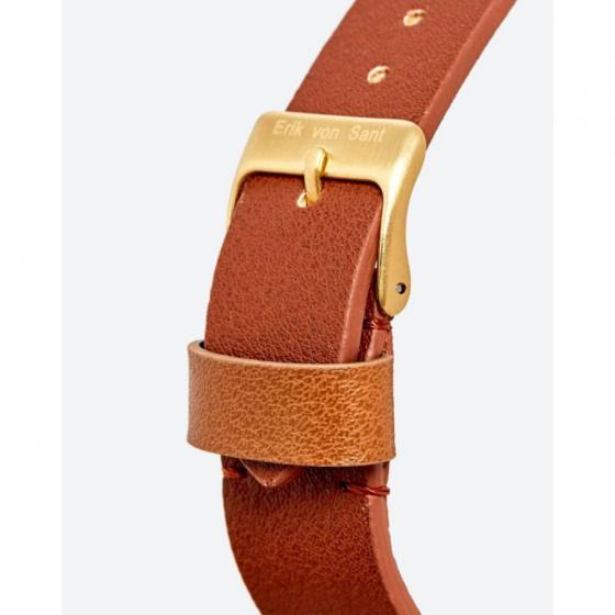Đồng hồ thời trang unisex Erik von Sant 003.007.D mặt tròn kim phối ba màu dây da nâu 38mm