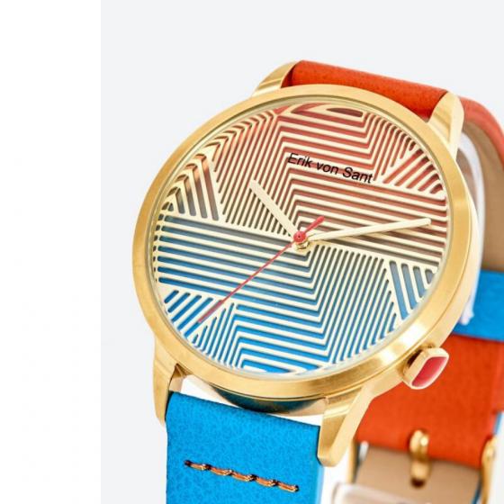 Đồng hồ thời trang unisex Erik von Sant 003.001.C mặt tròn họa tiết kẻ sọc phối dây hai màu 38mm