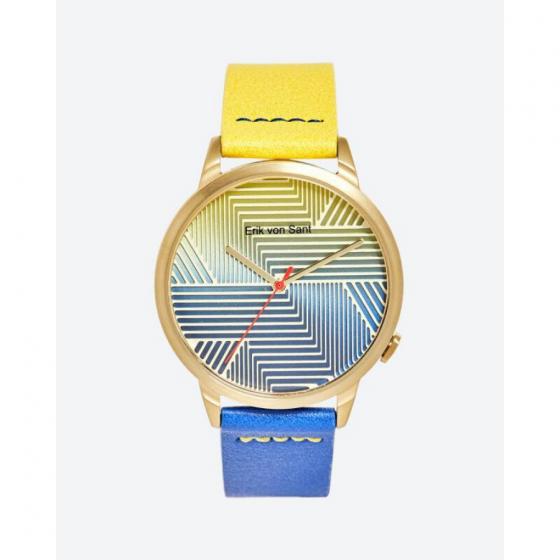 Đồng hồ thời trang unisex Erik von Sant 003.001.B mặt tròn họa tiết kẻ sọc phối dây hai màu 38mm