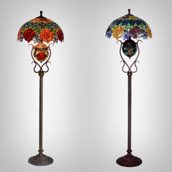 Đèn sàn Tiffany chao 46 hoa hồng